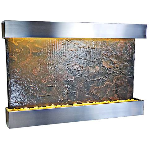 Horizon Falls Large Stainless Steel Indoor Wall Fountain