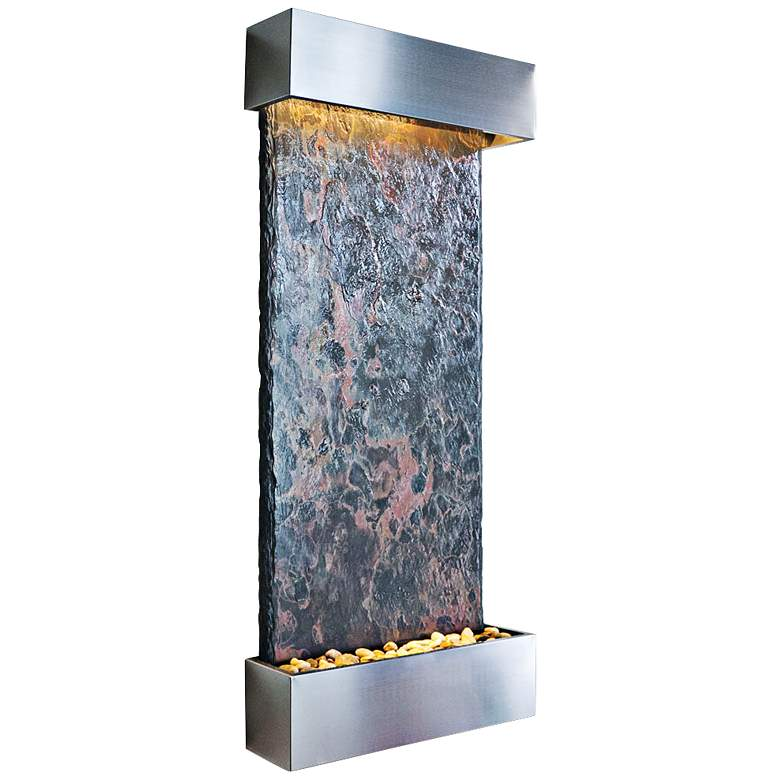 """Nojoqui Falls Large 58"""" High Stainless Indoor Wall Fountain"""