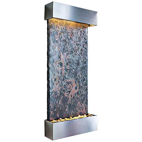 "Nojoqui Falls Large 58"" High Stainless Indoor Wall Fountain"