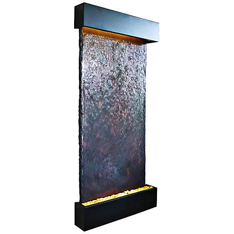 """Nojoqui Falls 72"""" High Grande Black Indoor Wall Fountain"""