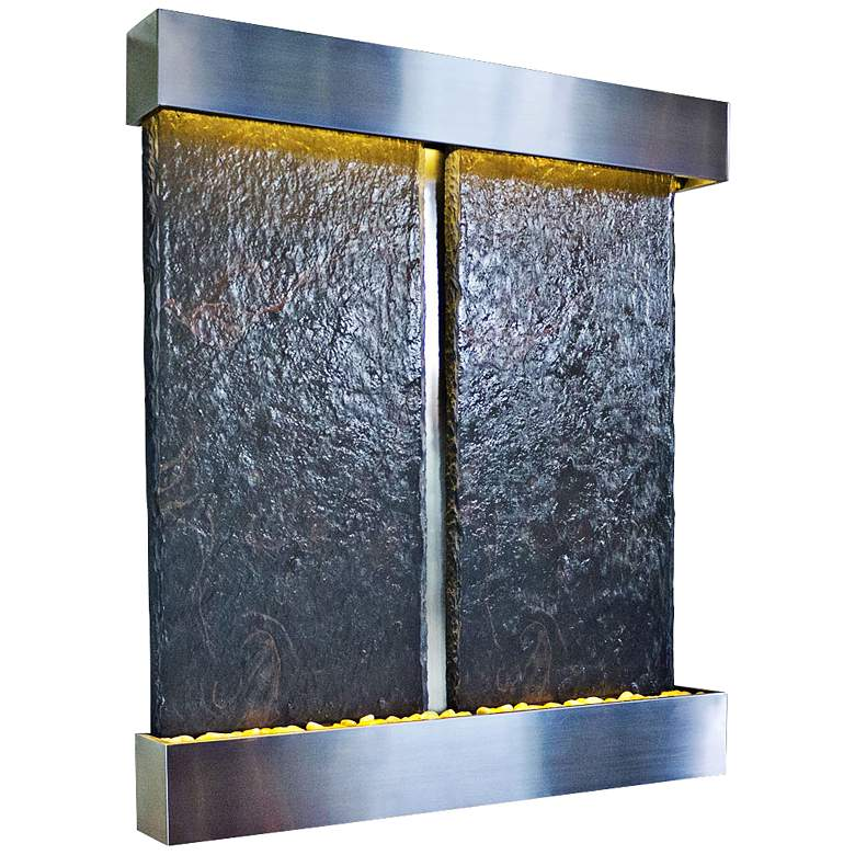 """Nojoqui Falls Double Stainless 57 1/2""""H Water Wall Fountain"""
