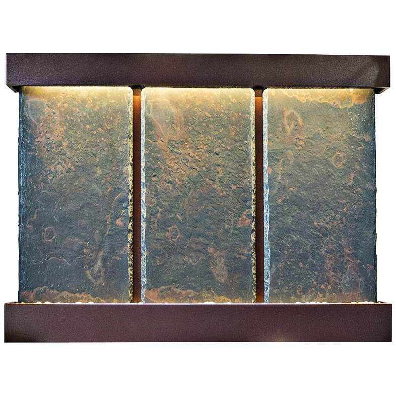 "Nojoqui Falls Triple 57"" High Coppervein Slate Wall Fountain"