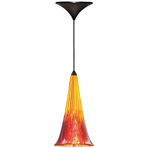 """Passion 4 3/4""""W Yellow Red Quick Connect LED Mini Pendant"""