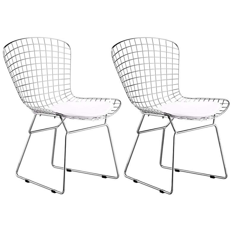 Zuo Indoor-Outdoor Chrome Wire Modern Dining Chairs Set of 2