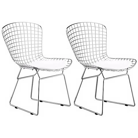 Zuo Wire Chrome Dining Chairs Set of 2