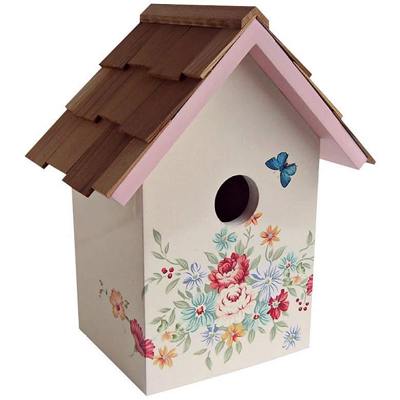 Hand-Painted Red Cedar Top Pastel Bouquet Cream Birdhouse