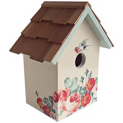 Hand-Painted Red Cedar Top Peony Cream Birdhouse