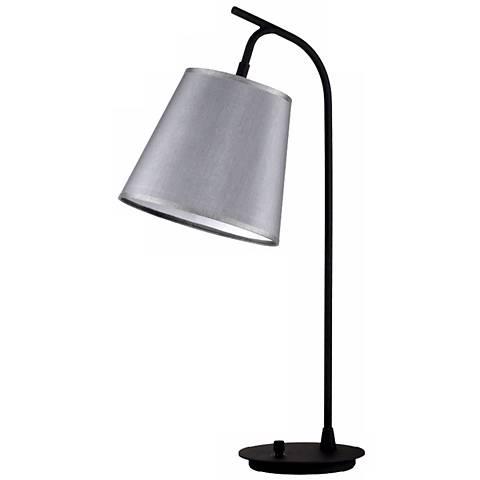 Lights Up! Platinum Silk Glow Shade Walker Table Lamp