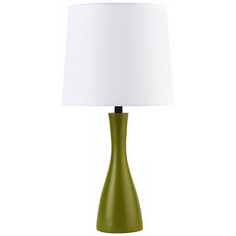 Lights Up! Linen Shade Grass Finish Oscar Accent Table Lamp