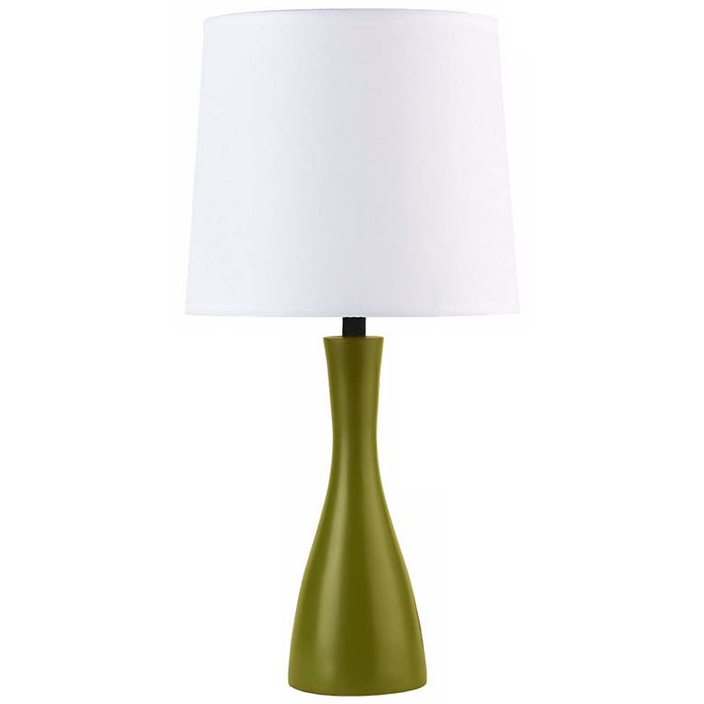 Lights Up! Linen Shade Grass Finish Oscar Accent Table Lamp