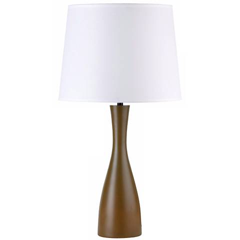 "Lights Up! Linen Shade Olive Oscar 24"" High Table Lamp"
