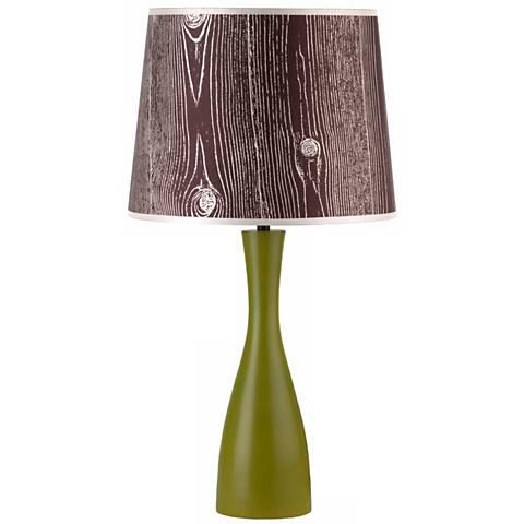 """Lights Up! Faux Bois Shade Grass Oscar 24"""" High Table Lamp"""