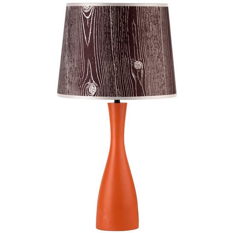 "Lights Up! Faux Bois Shade Orange Oscar 24"" High Table Lamp"