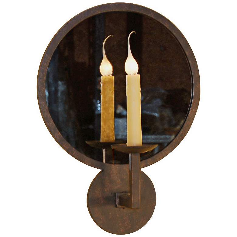 """Laura Lee Round Mirror 19"""" High Wall Sconce"""