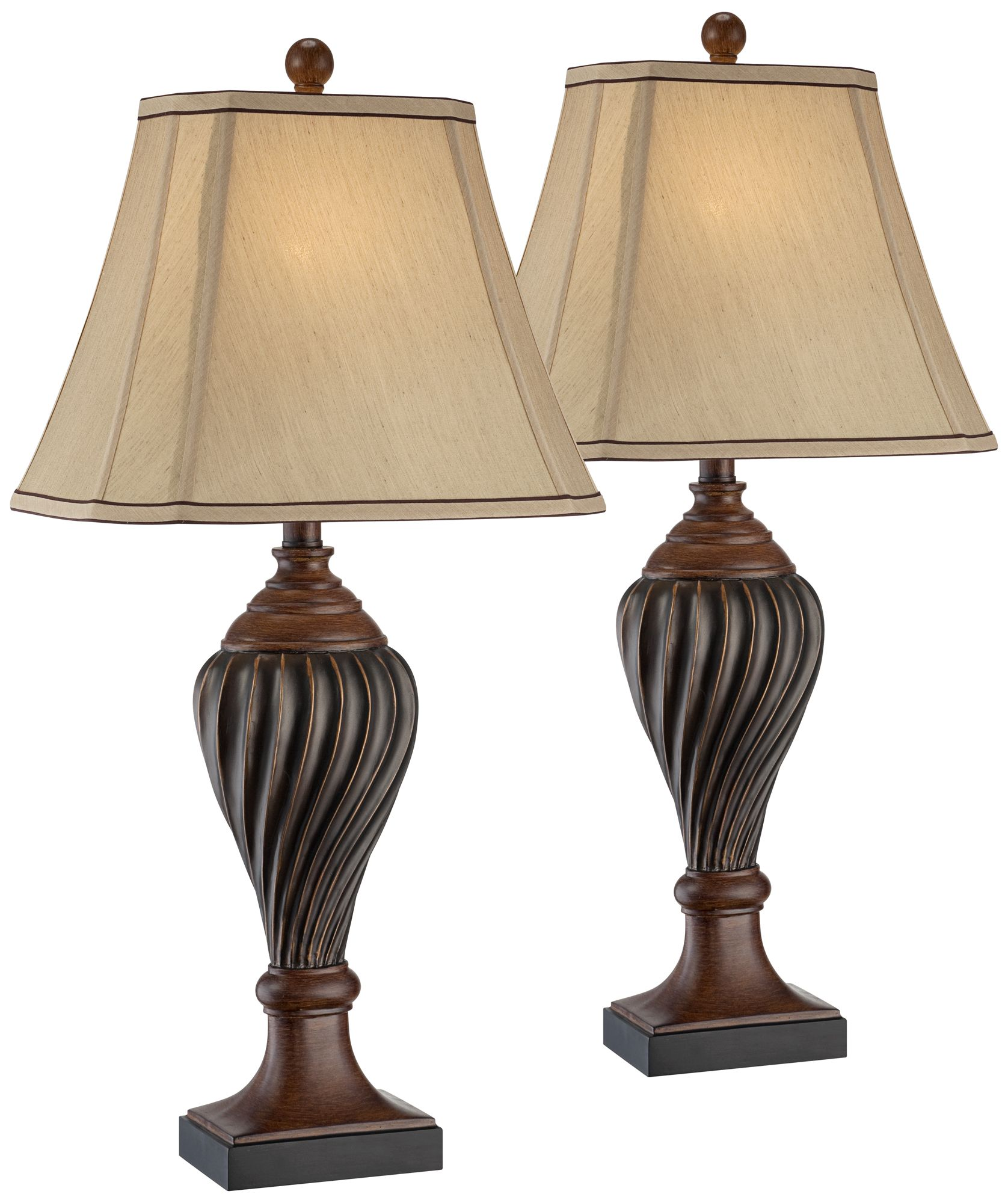 Attractive Carved Two Tone Brown Table Lamp Set Of 2