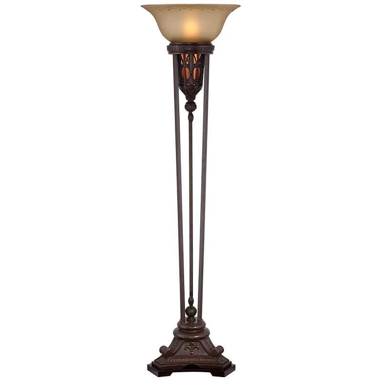 Fleur-de-Lis Champagne Glass and Bronze Torchiere Floor Lamp