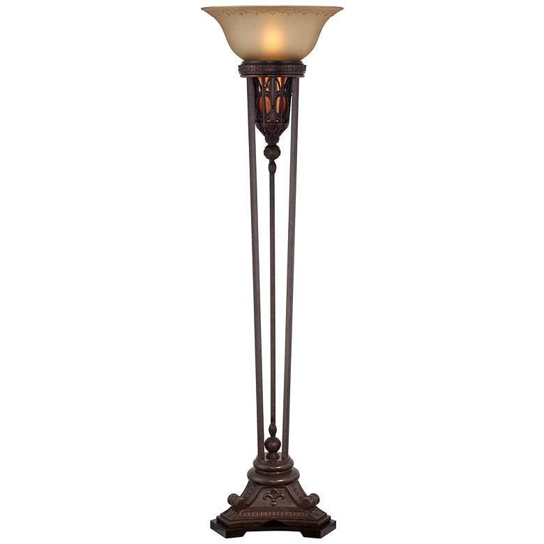 Fleur-de-Lis Champagne Glass and Bronze Torchiere Floor Lamp