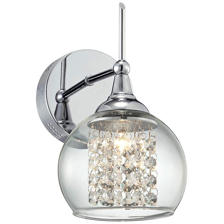 "Possini Euro Crystal Rainfall 10"" High Chrome Wall Sconce"