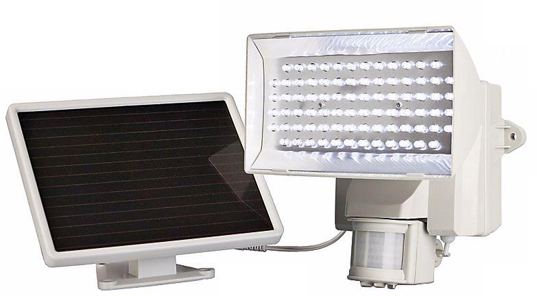 White Solar Power Motion Activated 80 LED Flood Light T4487