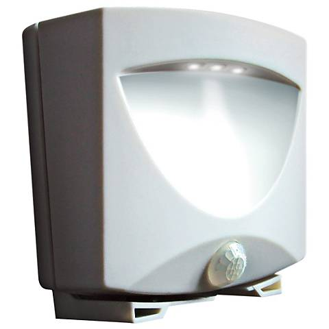 White Battery Powered 3-Light LED Outdoor Night Light