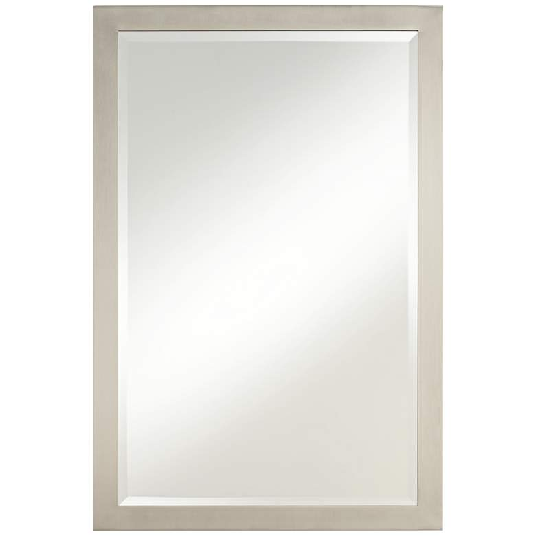 "Metzeo 33"" x 22"" Brushed Nickel Wall Mirror"