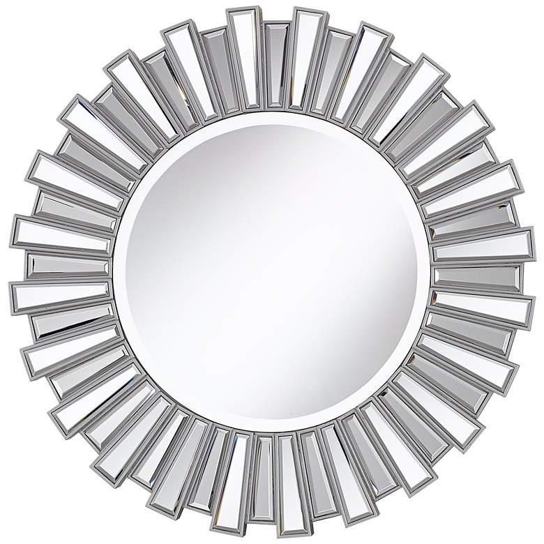 "Silver Finish Sunburst 30"" Wide Wall Mirror"