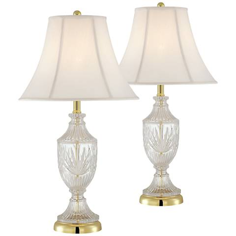Cut Glass Urn with Brass Accents Table Lamp Set of 2