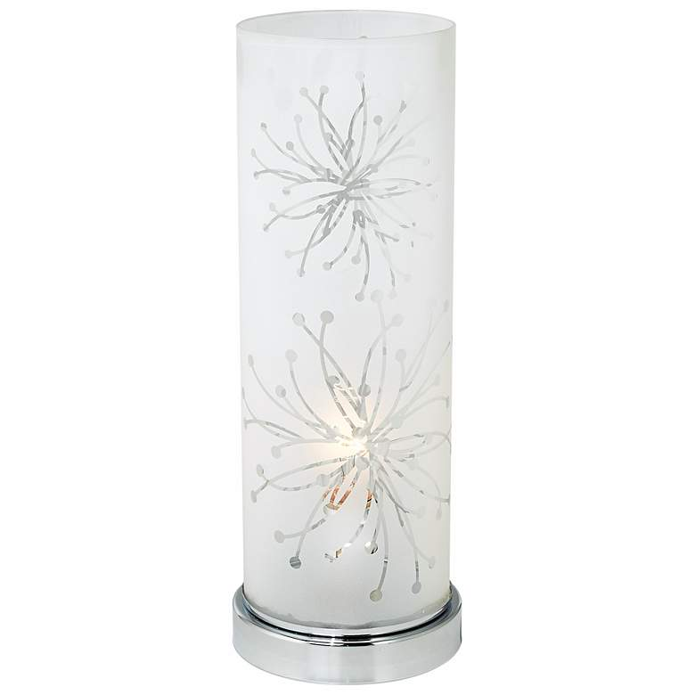 """Frosted Glass Cylinder 14 1/4"""" High Accent Table Lamp"""