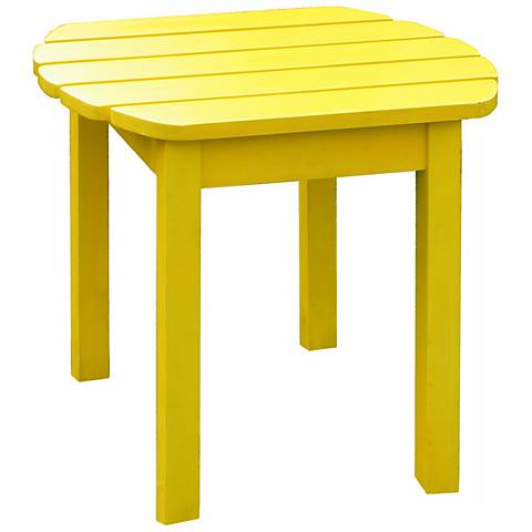 Yellow Finish Solid Wood Accent Table