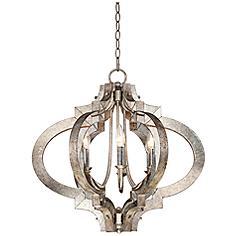 "Ornament Aged Silver 23 1/4"" Wide 6-Light Chandelier"
