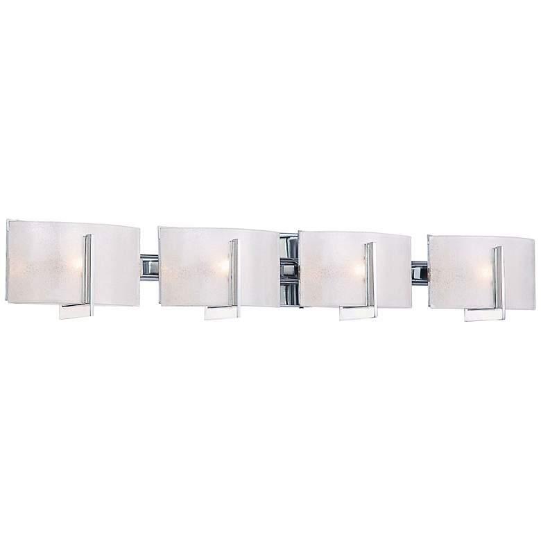 """Clarte 37""""W Chrome and White Iris Glass 4-Light Bath Light"""