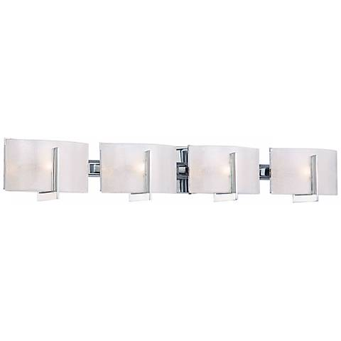 "Clarte 37""W Chrome and White Iris Glass 4-Light Bath Light"