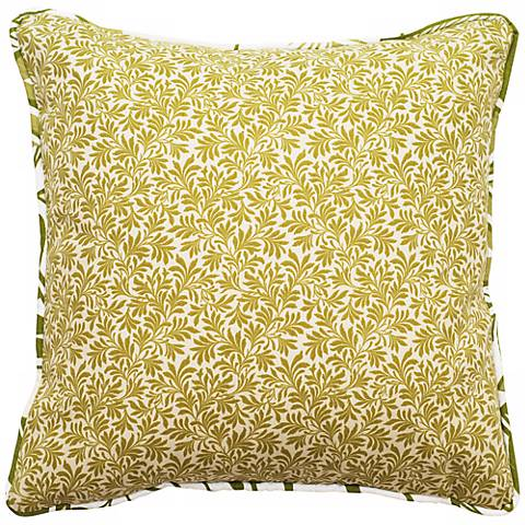 """Green Angelina 18"""" Square Outdoor Pillow"""