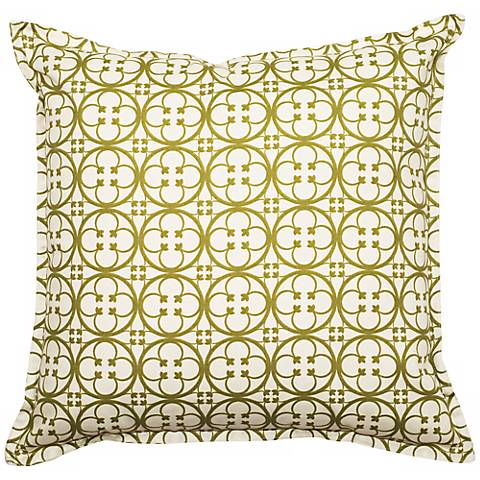 """Green Betsy 18"""" Square Flanged Edge Outdoor Pillow"""
