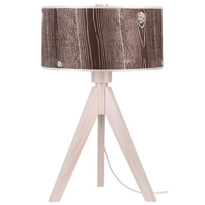Lights Up! Woody Pickled Dark Faux Bois Shade Table Lamp