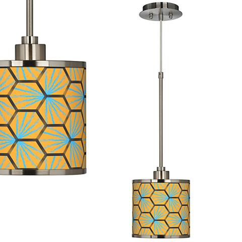 Pentagon Starburst Giclee Glow Mini Pendant Light