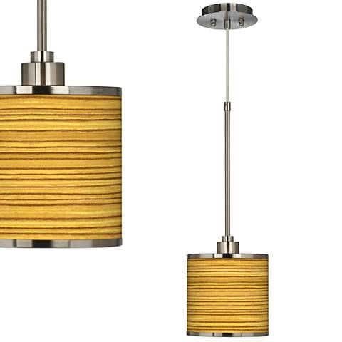Tawny Zebrawood Giclee Glow Mini Pendant Light