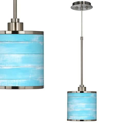 Barnyard Blue Giclee Glow Swag Style Plug-In Chandelier