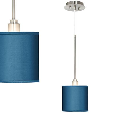 Blue Faux Silk Mini Pendant Light