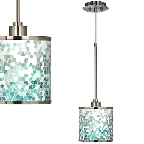 Aqua Mosaic Giclee Glow Mini Pendant Light