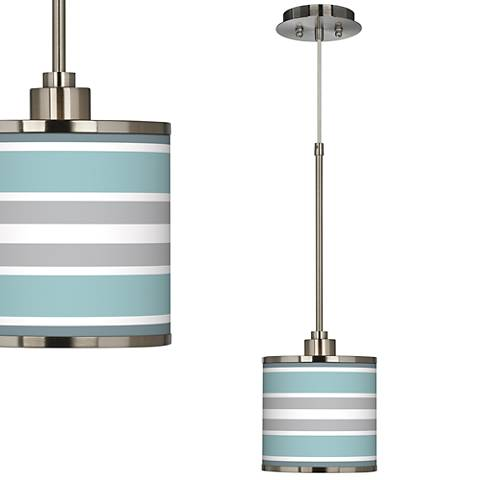 Multi Color Stripes Giclee Glow Mini Pendant Light