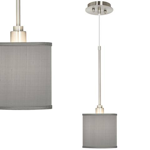 "Gray 7"" Wide Textured Silk Mini Pendant Light"