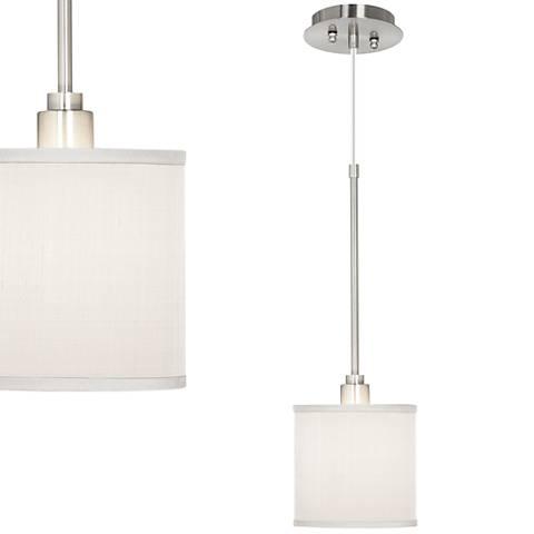 "Cream White 7"" Wide Textured Silk Mini Pendant Light"
