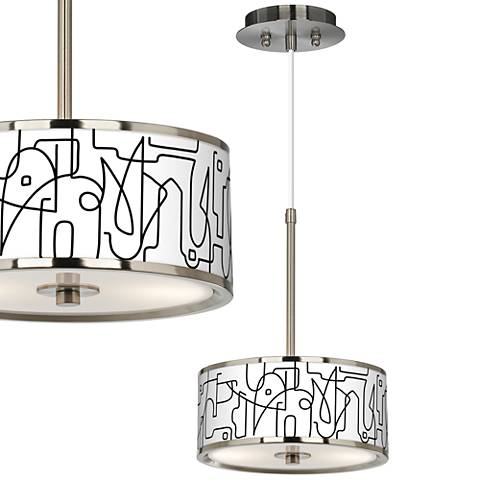 "Scribble World Giclee Glow 10 1/4"" Wide Pendant Light"