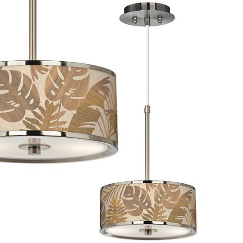 """Tropical Woodwork Giclee Glow 10 1/4"""" Wide Pendant Light"""