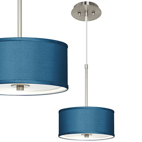 "Blue Faux Silk 10 1/4"" Wide Mini Pendant"