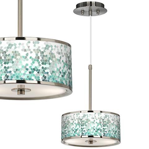 "Aqua Mosaic Giclee Glow 10 1/4"" Wide Mini Pendant"