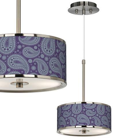 "Purple Paisley Linen Giclee Glow 10 1/4"" Wide Mini Pendant"