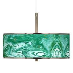 Green pendant lighting lamps plus malachite giclee glow 16 wide pendant light aloadofball Choice Image