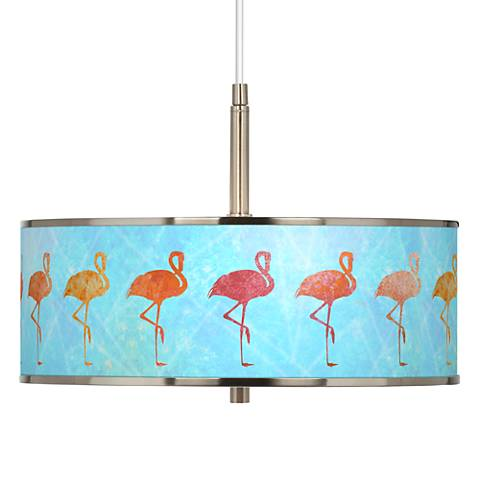 "Flamingo Shade Giclee Glow 16"" Wide Pendant Light"